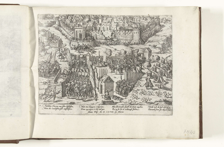 Frans Hogenberg | Beleg en vergelijk van Chartres, 1568, Frans Hogenberg, Jean Perrissin, 1565 - 1573 | Beleg en vergelijk van Chartres, maart 1568. Beschieting van de ommuurde stad. Met onderschrift van 8 regels in het Duits. Genummerd: 24.