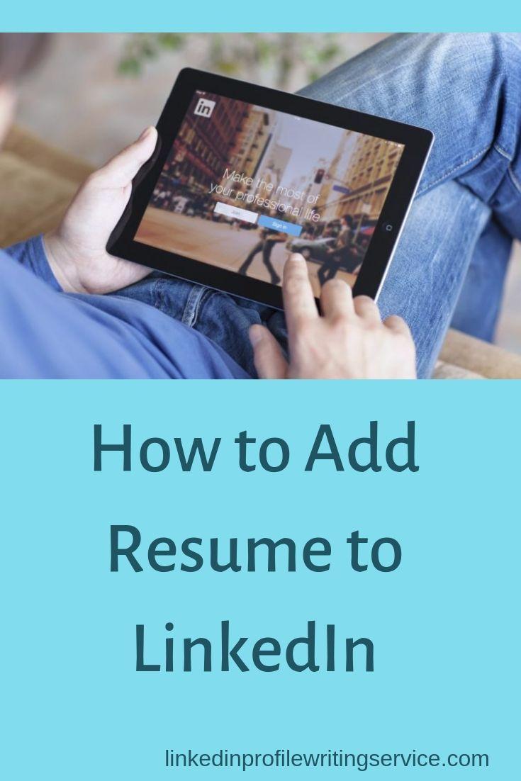 How to upload resume to linkedin add resume to linkedin