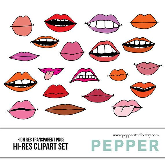 Lips Doodles Illustrated Clipart Scrapbooking Doodles Mouths