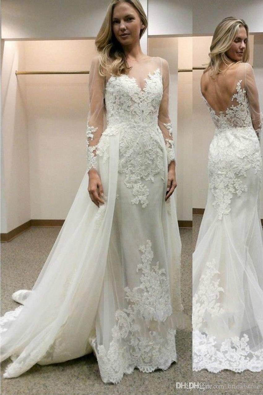 Neueste Elfenbein Meerjungfrau Brautkleider Abnehmbarer Rock Mit