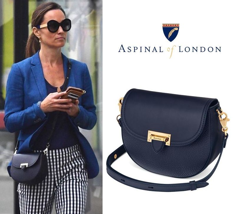 Click To The Aspinal Of London Portobello Bag In Navy Pebble As Seen On Pippa Middleton
