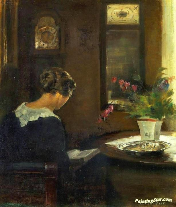 Interior with Artist's Wife Reading at a Table Artwork by Carl Vilhelm Holsoe