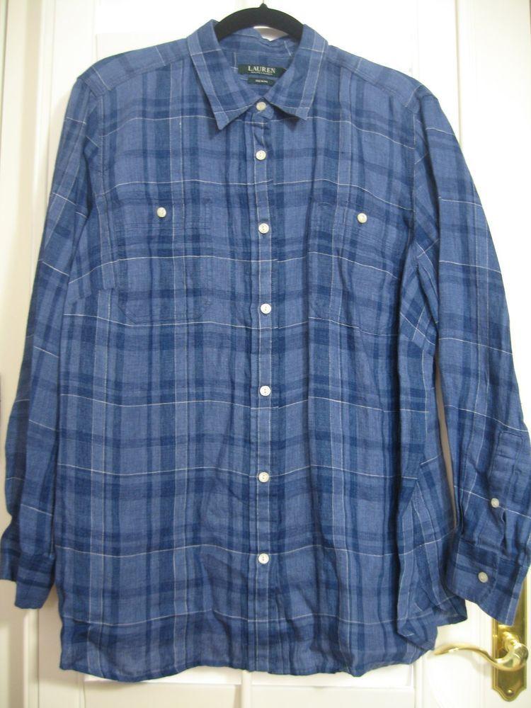RALPH LAUREN DENIM LONG SLEEVE BLOUSE 100% LINEN PLUS SIZE   blue plaid  size 3X #RalphLauren #ButtonDownShirt #Casual