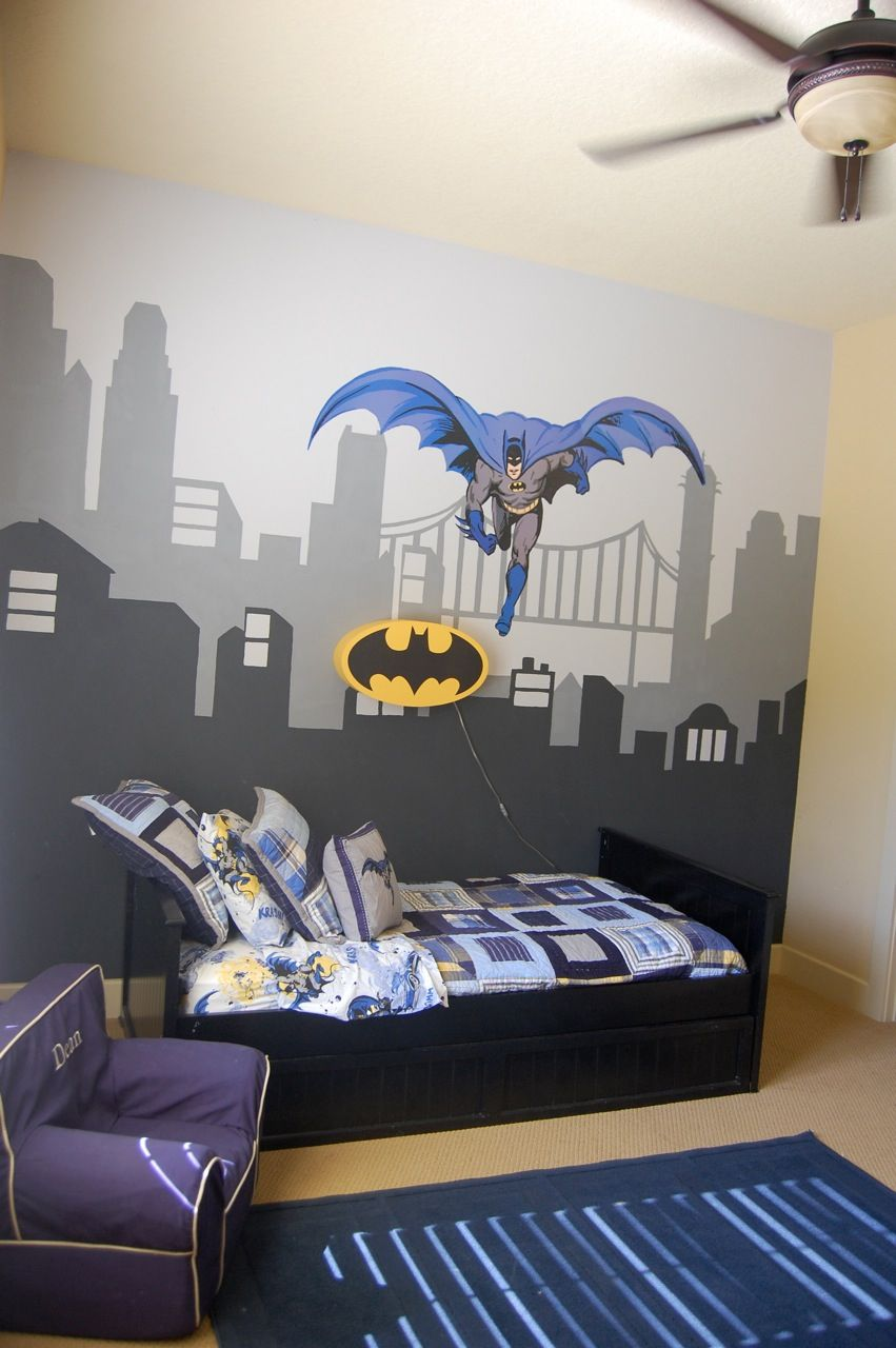 Pottery Barn Kids bedding, batman light and anywhere chair