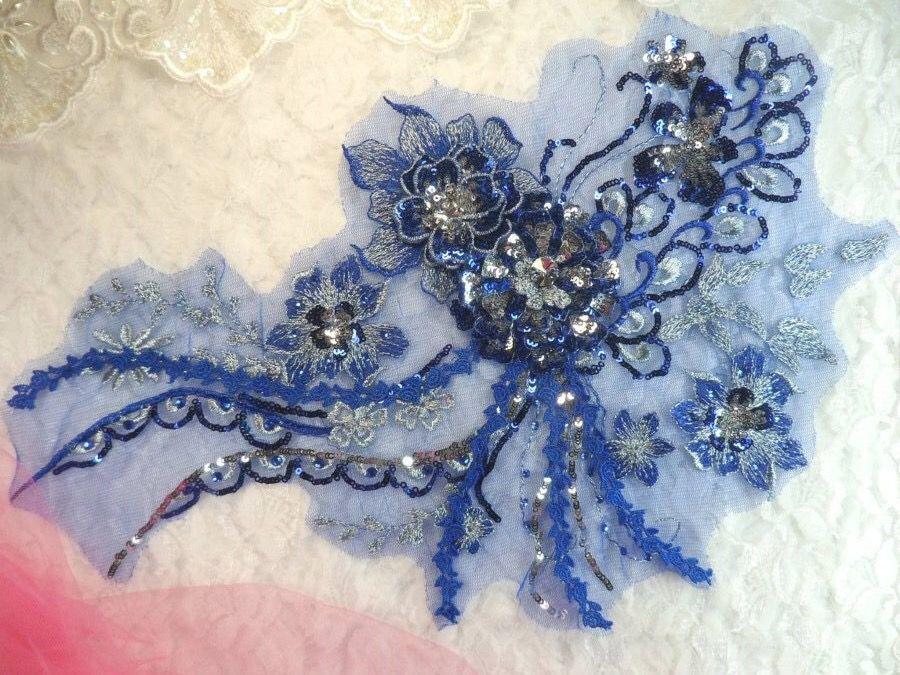 Blue Mirror Sequins Appliques Floral Design Applique Sewing Patches 12 Pieces