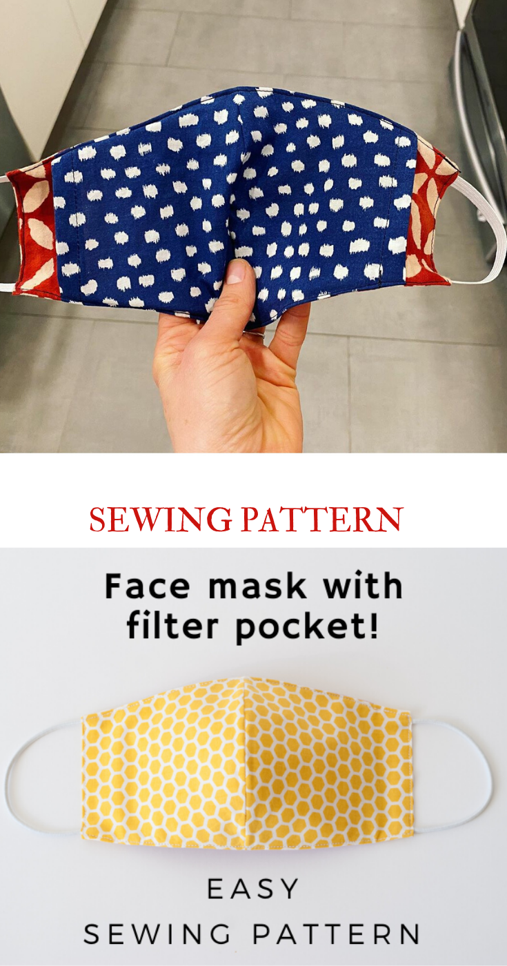 Photo of Face Mask Sewing Pattern PDF Mask with filter pocket Washable Reusable Mask Dust mouth Mask Beginner project Mask tutorial for kids