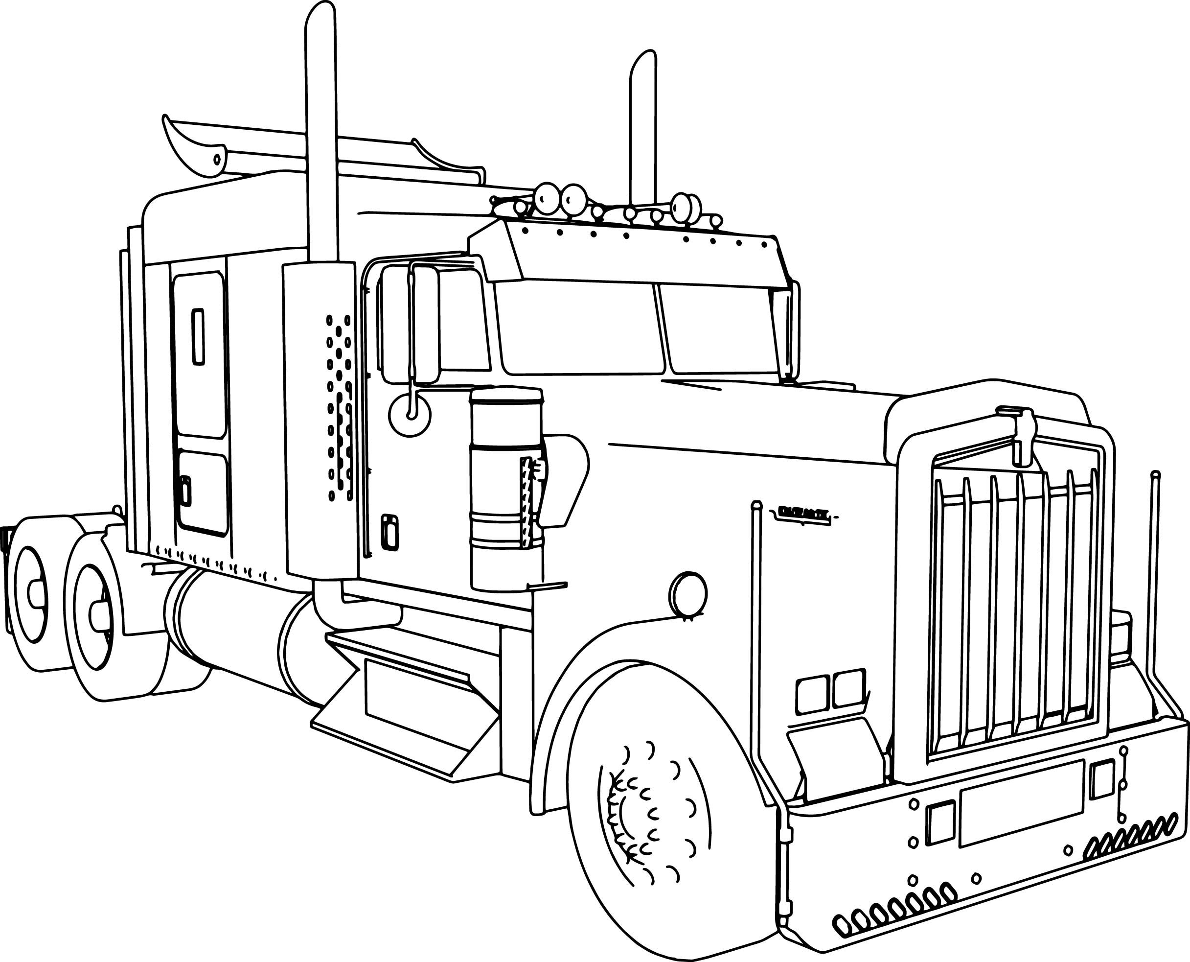 Nice Kenworth W900 L Long Trailer Truck Coloring Page With Images