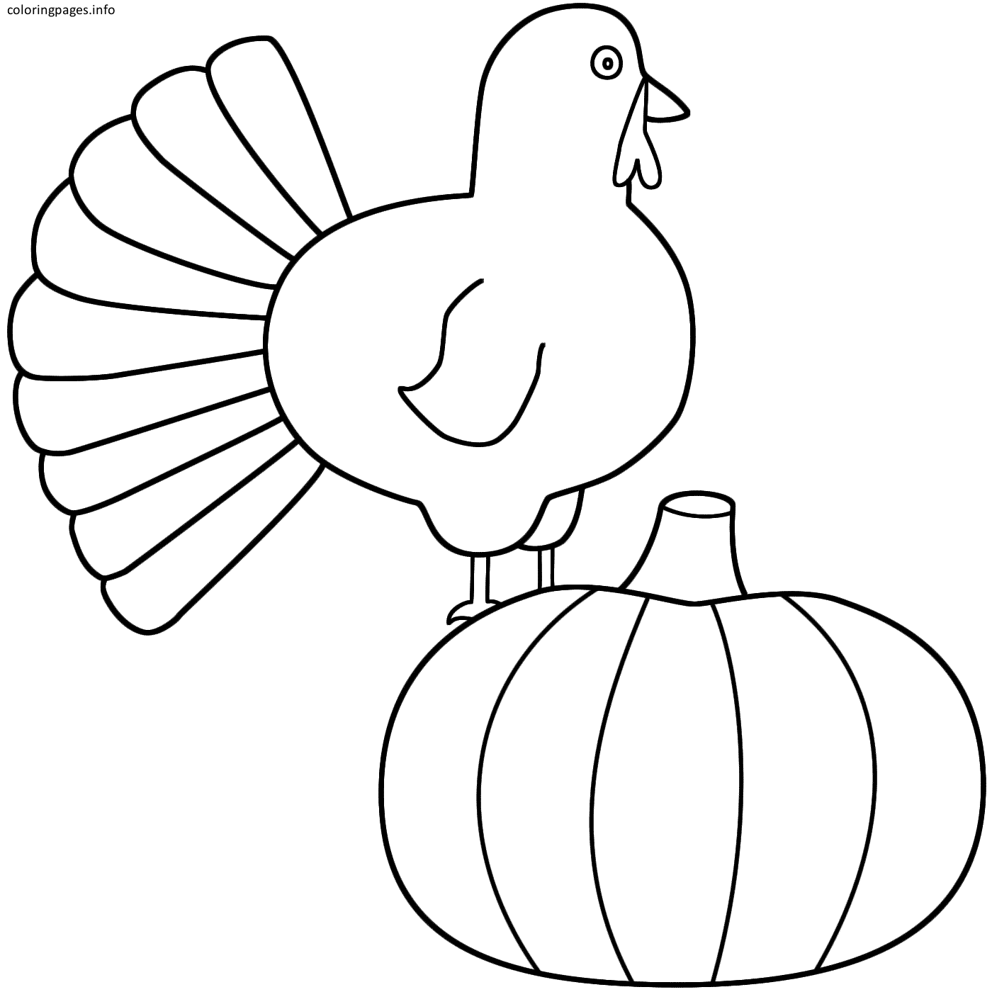 Turkey And Pumpkin Coloring Pages