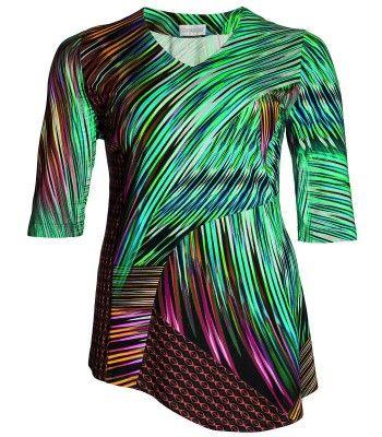 Chalou XXL Shirt für Mollige Damen Viskose Türkis Bunt – Bild 1