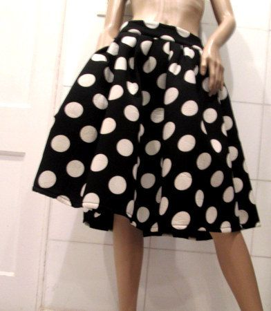 Knee Length Large Polka Dot Skirt.  Black and by MISSVINTAGE5000