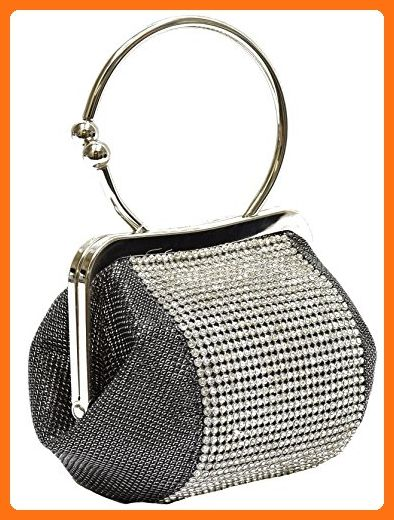 Hearty Trendy Small Kiss Lock Pewter Satin Evening Bag Crystals Frame Purse Clutch Handbag