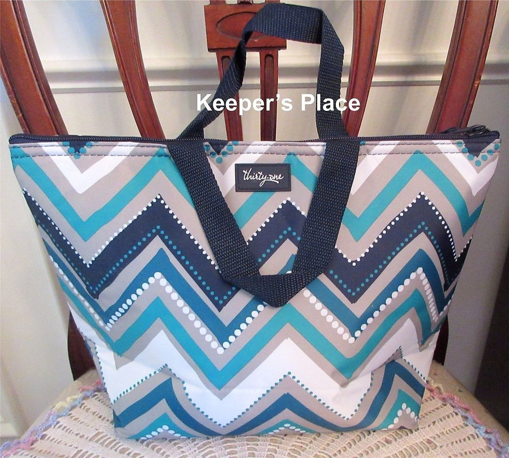 Thirty One 31 Thermal Tote Dotty Chevron Insulated Travel Sack Lunch Bag New Thirtyone
