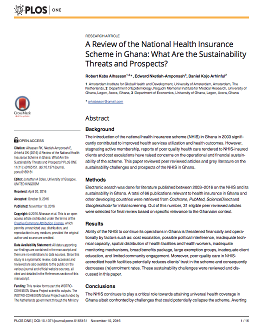 A Review Of The National Health Insurance Scheme In Ghana What