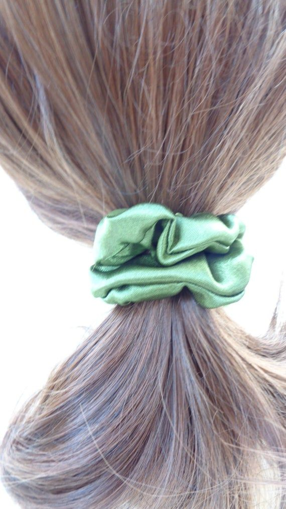 Mini Satin scrunchies scrunchy scrunchie Mini green satin  hair scrunchie  ,Chouchou, hair accessori #hairscrunchie