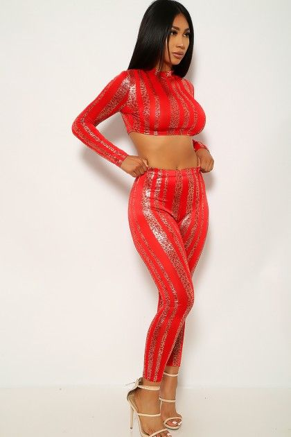 Red Gold Leopard Print Two Piece Outfit