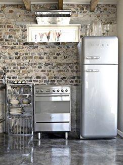 Love The Old Brick With Stainless Steel Studio Kitchen, Barn Kitchen, Smeg  Kitchen,