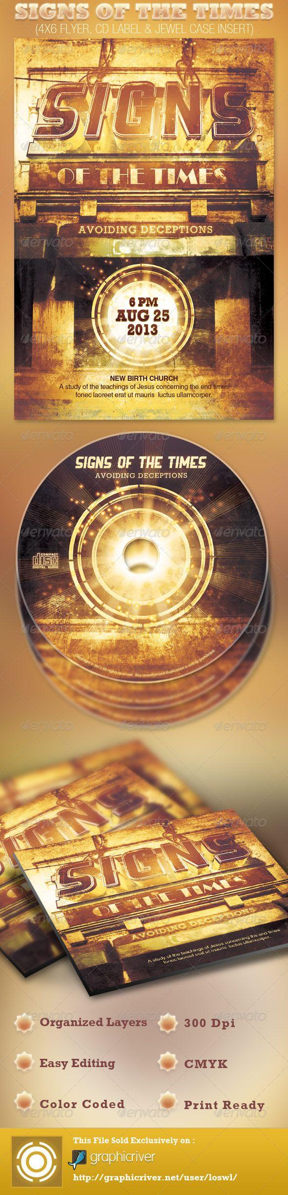 This Signs of the Times Church Flyer and CD Template is sold exclusively on graphicriver, it can be used for your Sermons, Bible Studies, Youth Programs, Bulletins, Campus Ministries etc. In this package you'll find 3 Photoshop files. All text and graphics in the files are editable (Except for the 3D Headline), color coded and simple to edit. The file also has 5 one-click color options. - $7.00