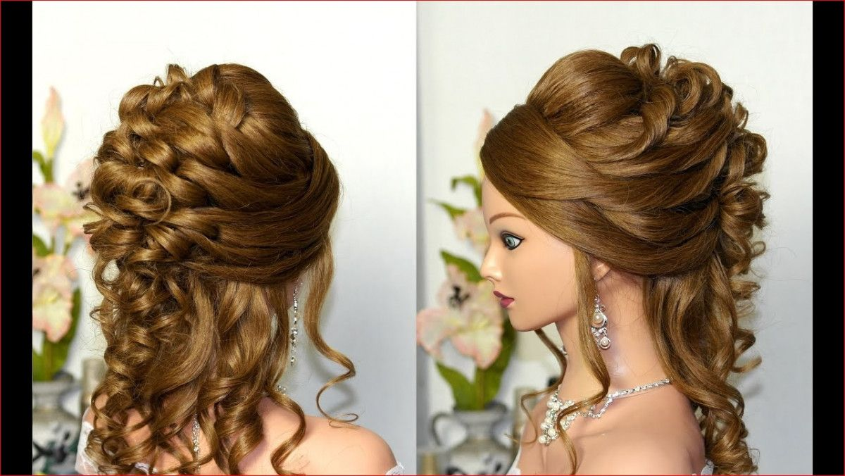 Curly Wedding Prom Hairstyle For Long Hair Youtube In 2019 Prom