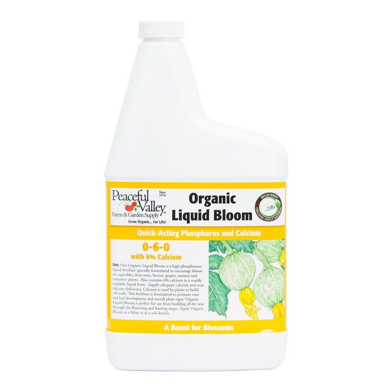 Peaceful Valley Organic Liquid Bloom Fertilizer 0 6 0 1 Qt Liquid Fertilizer Organic Container Plants