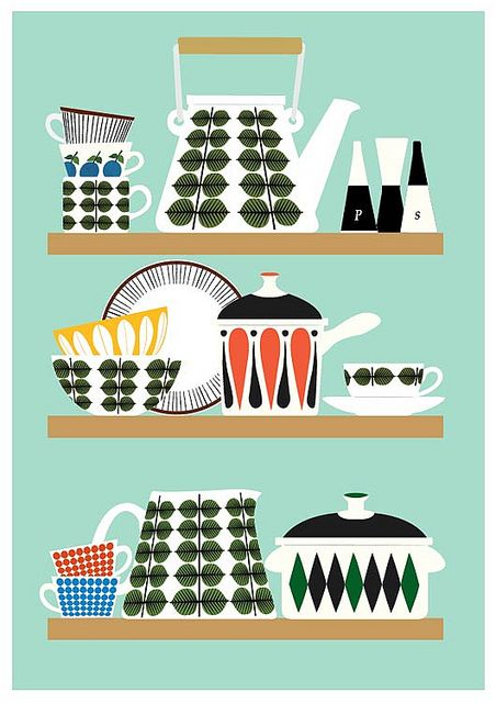 Stig Lindberg Bersa Kitchen Shelf Poster Print Vintage Affischer Vintage Illustrationer Planscher