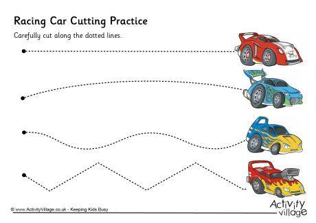 Racing Car Cutting Practice Pre K And Kindergarten Printables