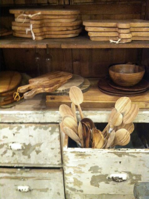 wooden cutting boards, spoons