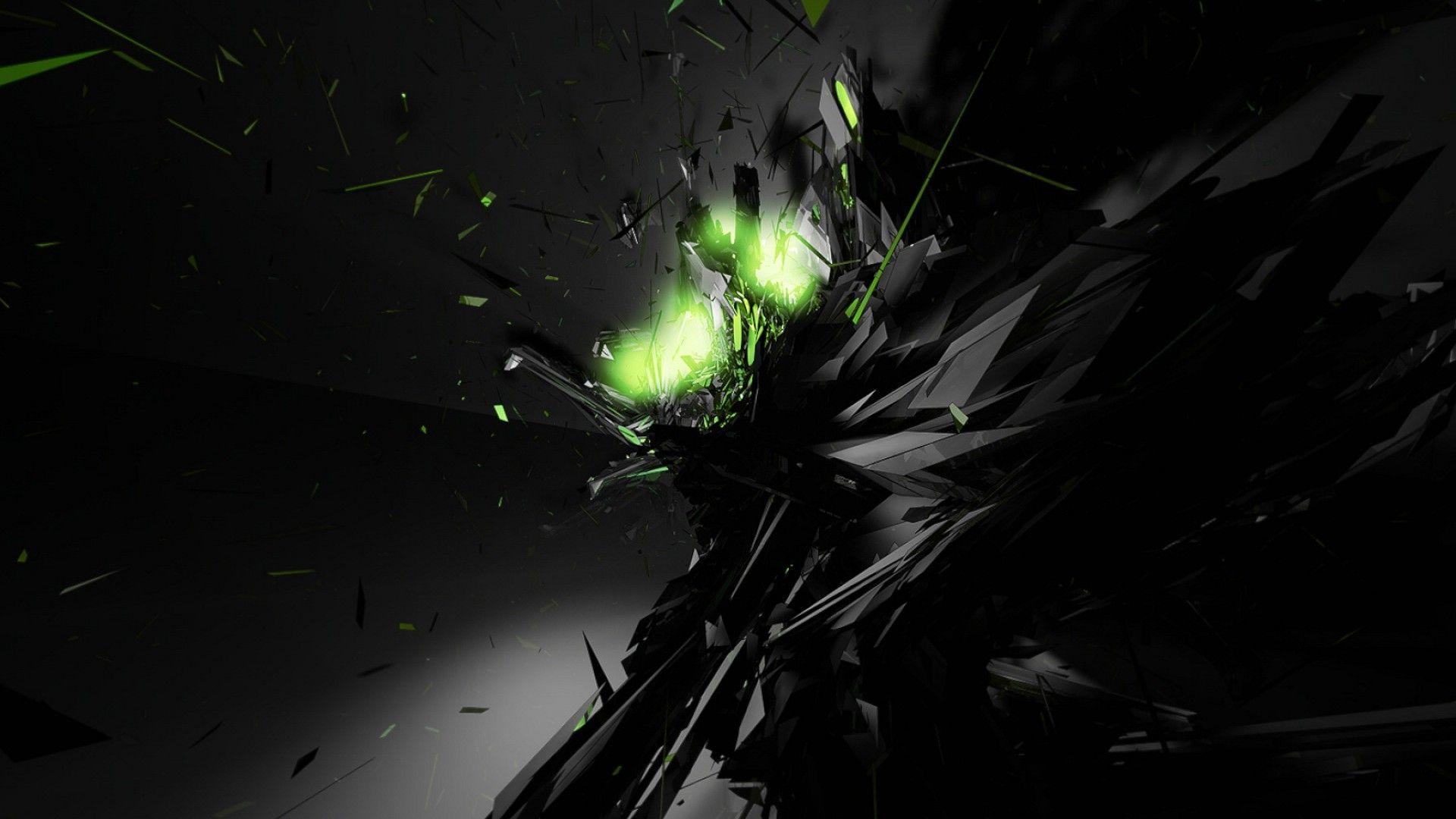 Green Glow Dark Black Wallpaper Cool Desktop Wallpapers Abstract Wallpaper