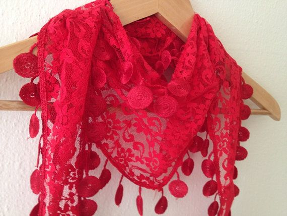 Red Lace Scarf with lace fringelariat by SpecialFabrics on Etsy, $11.99