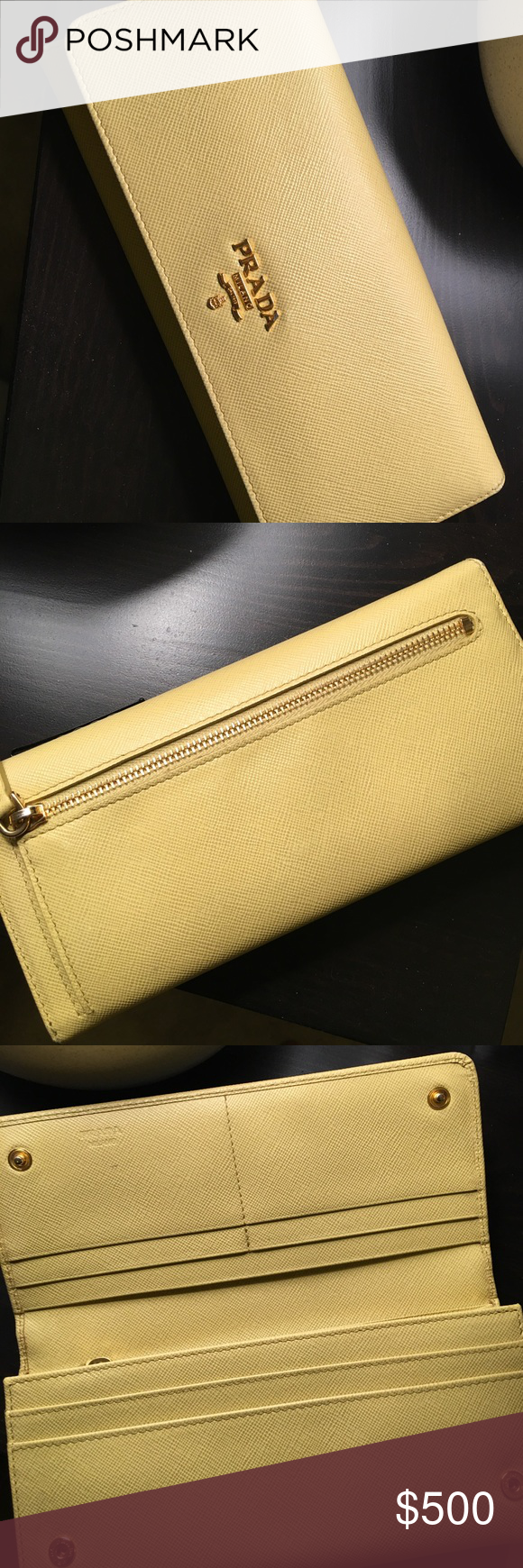 75705501ada74a ... saffiano leather wallet w authenticity card slim pale yellow leather  prada snap enclosure wallet promo code prada yellow zippy wallet  authentickelly ...