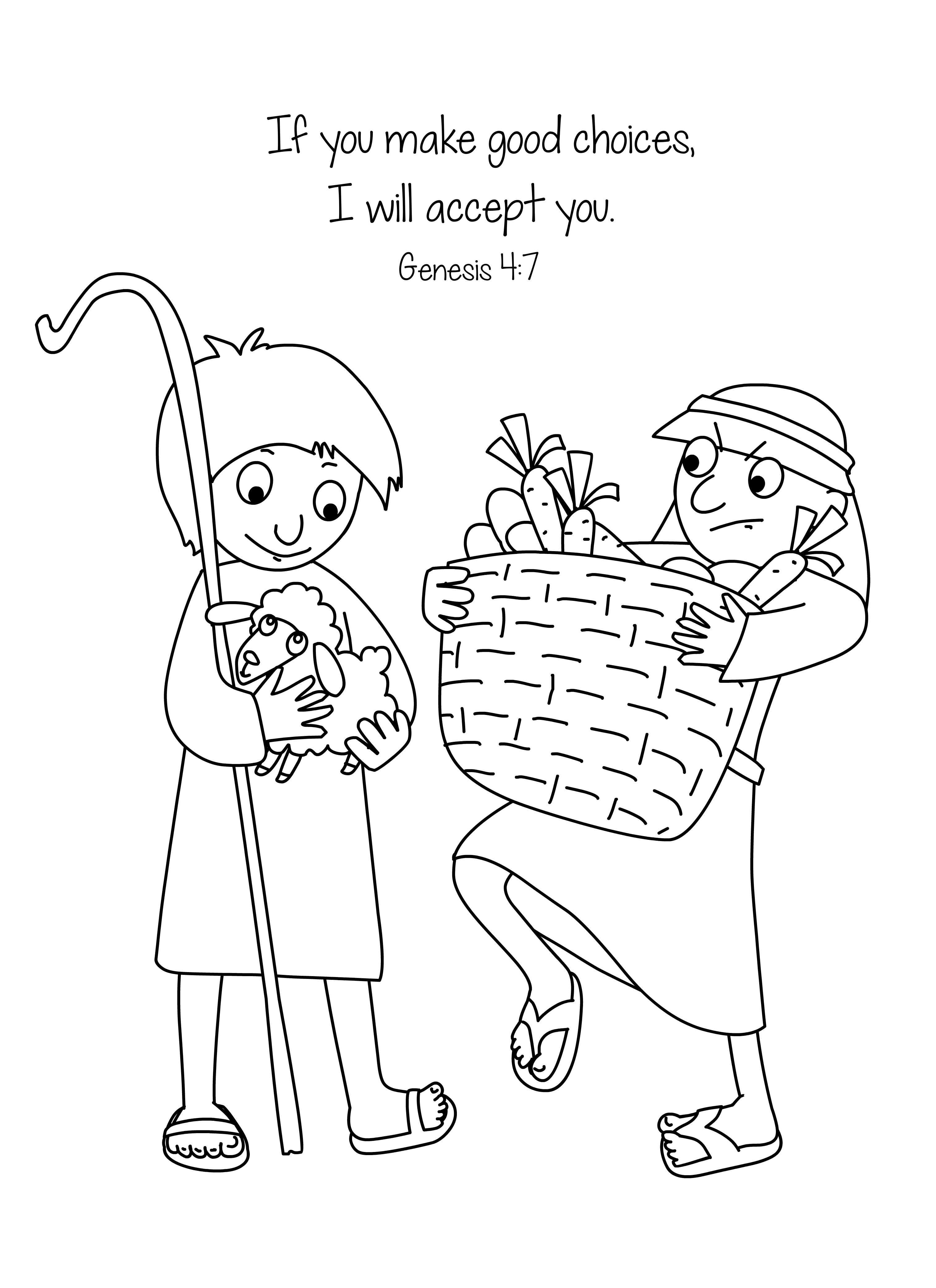 Cain and Abel Bible Coloring Page Free Download   Big part ...   bible coloring pages for preschoolers