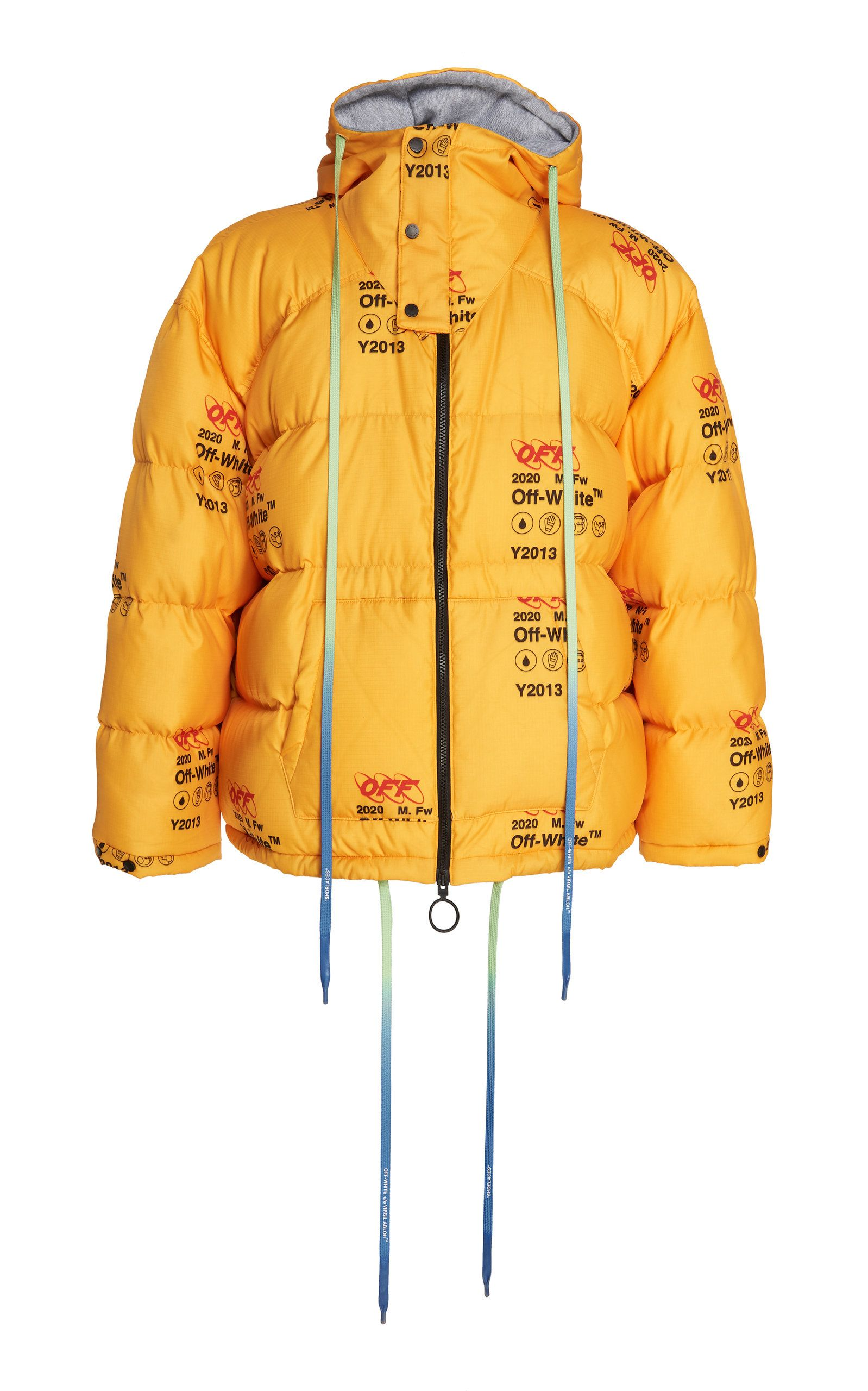 Off White Industrial Logo Print Quilted Down Jacket In 6000 Ylwno Modesens Jackets Down Jacket White Industrial [ 2560 x 1598 Pixel ]