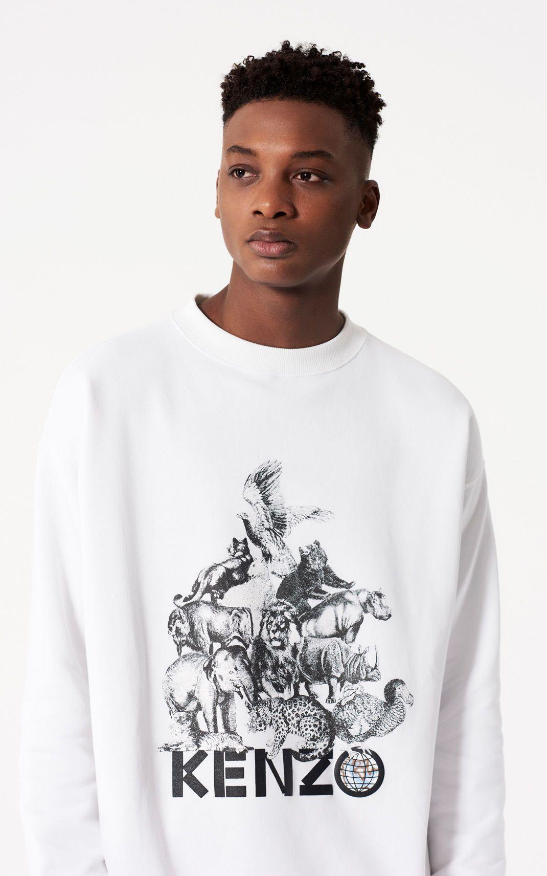 014324771 WHITE 'Animals' Sweatshirt for men KENZO | Style | Kenzo ...