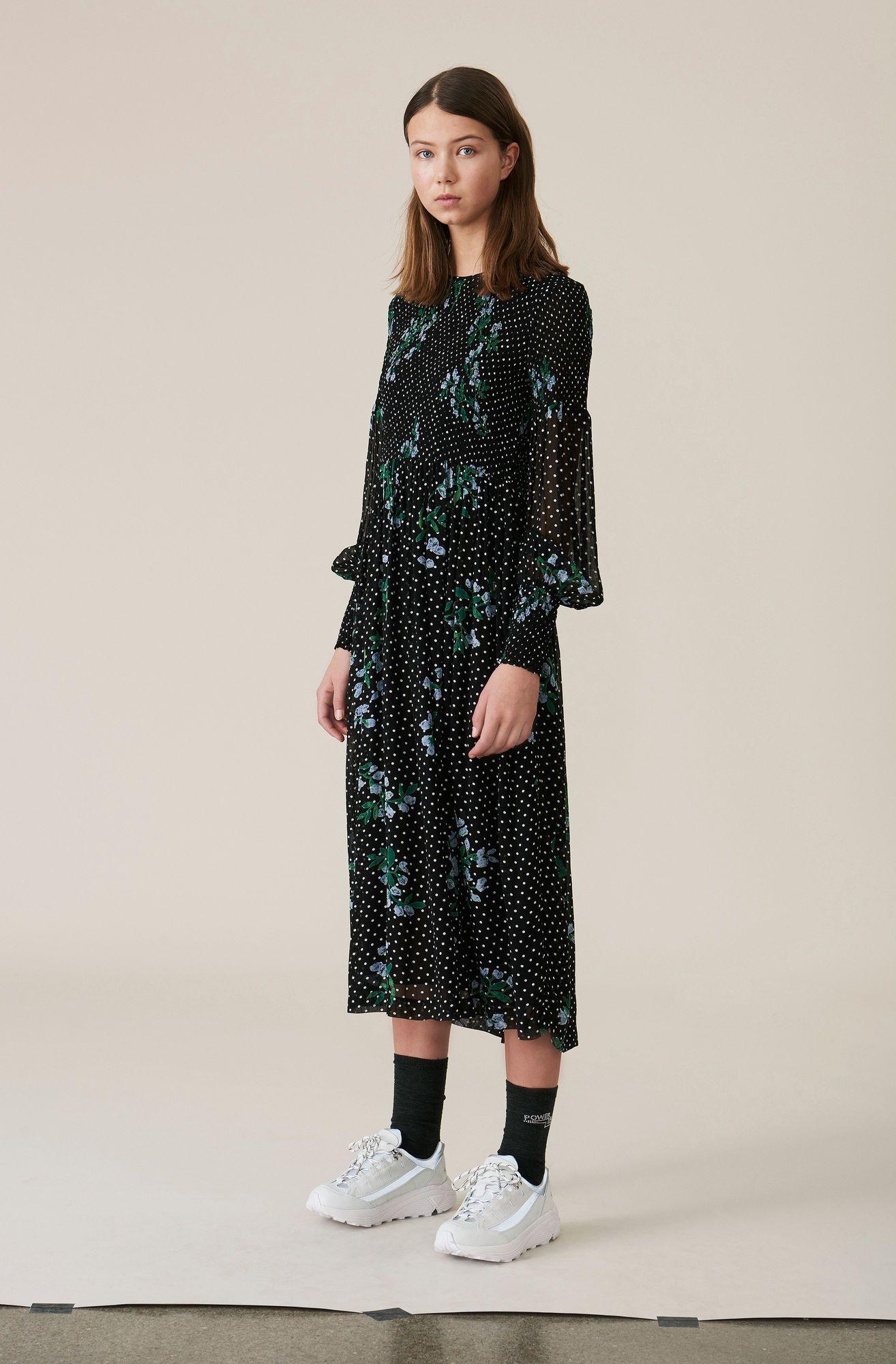 52de0cd9f238 Rometty Georgette Smock Dress, Black | AW tears in 2019 | Smock ...