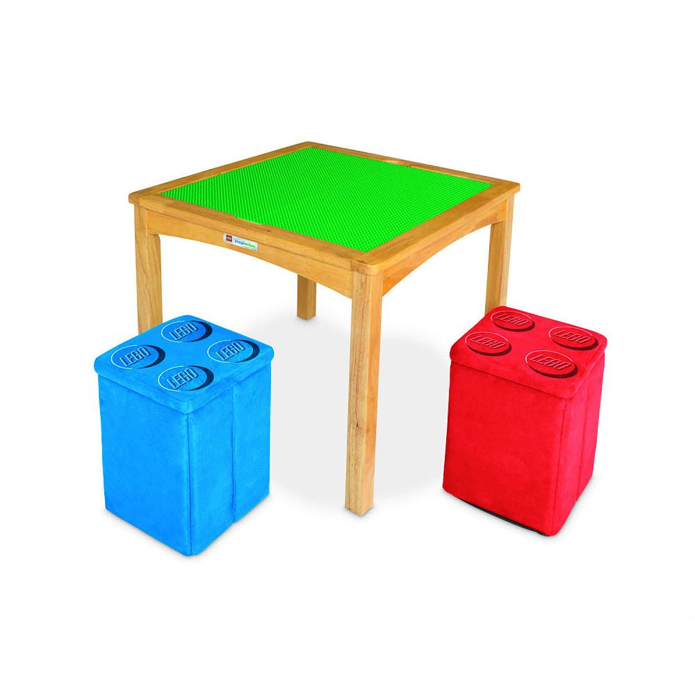 Imaginarium Lego Activity Table With Ottomans Natural