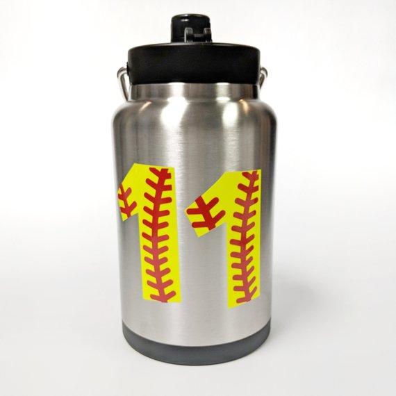 Softball Or Baseball Rtic Stainless Steel Half Gallon Jug Softball Sports Bag Tags Team Gifts