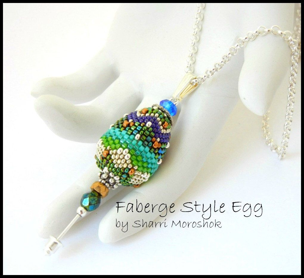 Faberge Style Beaded Egg Kit -  beaded bead pendant stick pin  - includes instructions and materials by TheBeadedBead on Etsy https://www.etsy.com/listing/126815883/faberge-style-beaded-egg-kit-beaded-bead
