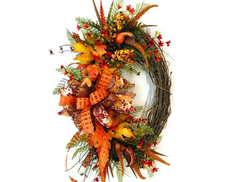 Photo of Fall Floral Pumpkin Grapevine Wreath, Autumn Front Porch Decor, Rustic Country Harvest Door Hanger, Thanksgiving Decor, GiGiMasterpieces