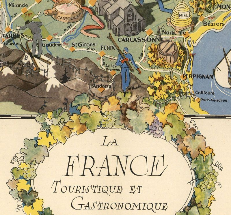 Old Map of France Gastronomy Tourism Poster Tourism poster - new air france world map flight routes c.1948