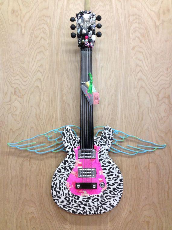 Rockin\' Hot Pink & Cheetah Metal Guitar/Guitar Decor/Guitar Wall Art ...