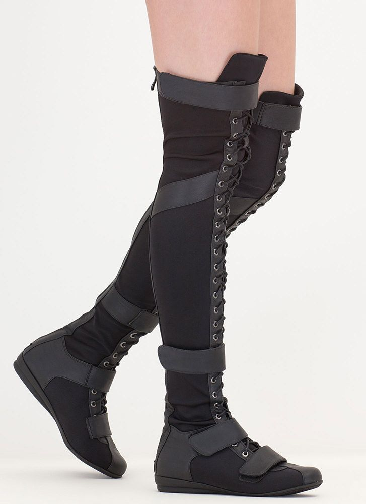 d020ff727b5367 Space Cadet Mixed Media Thigh-High Boots OLIVE BLACK GREY - GoJane ...