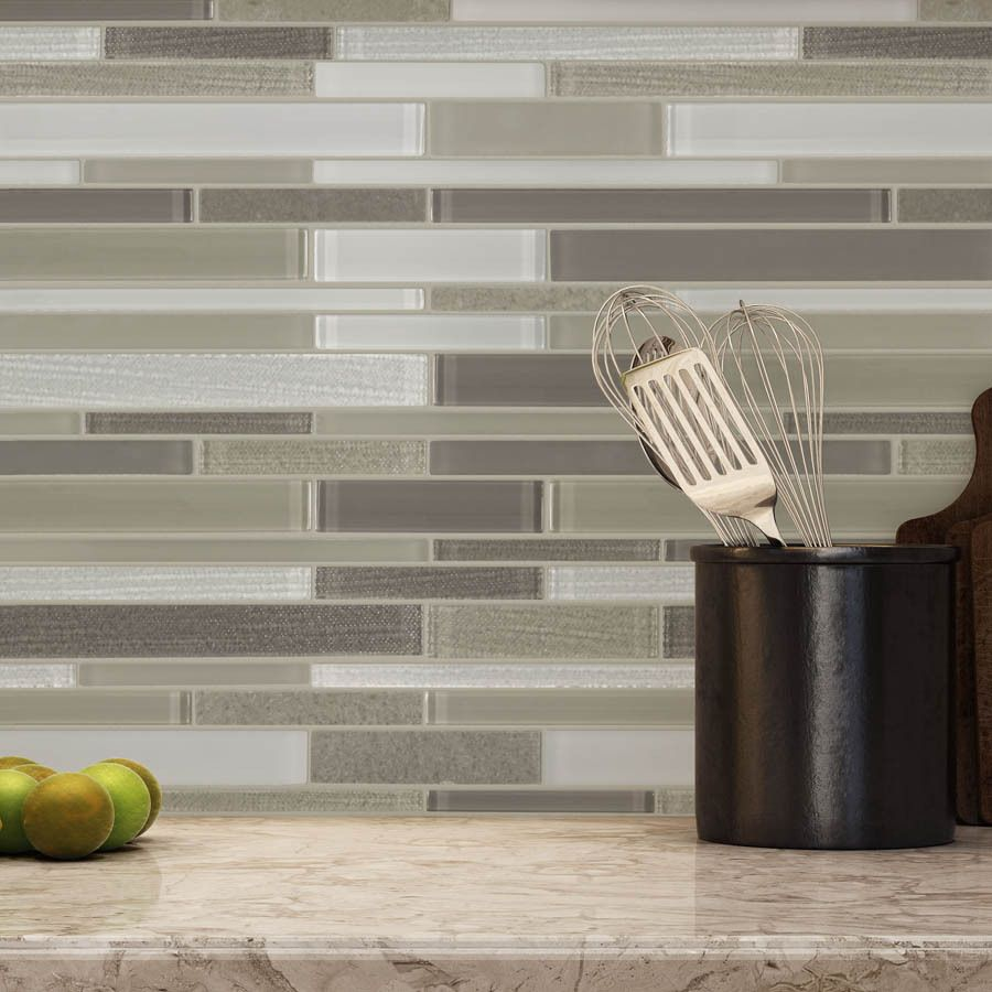 Shop Allen Roth Desert Bluff Linear Mosaic Stone And Glass Marble Wall Tile Common X Actual