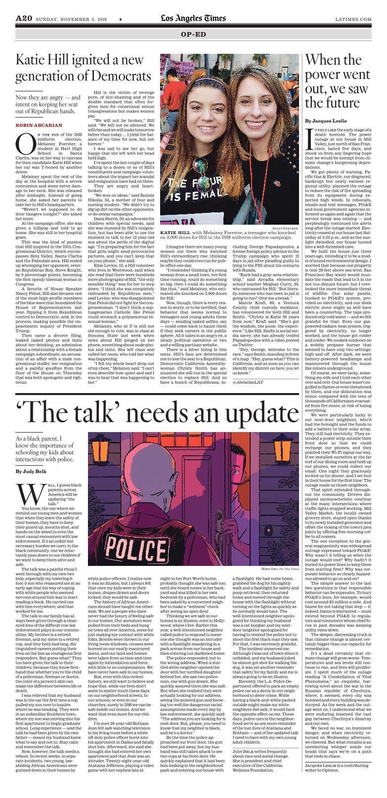 Los Angeles Times Enewspaper Los Angeles Katie Hill Time
