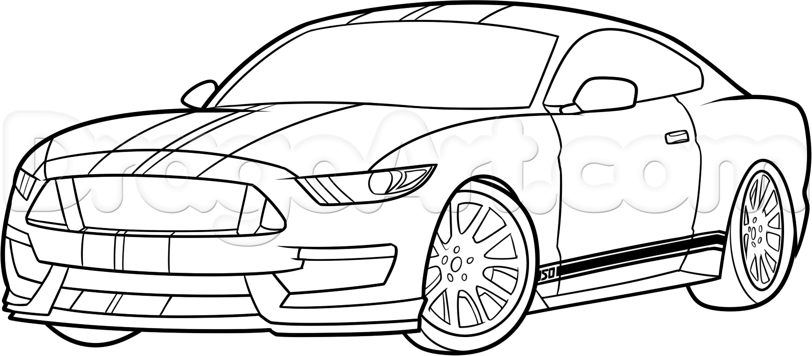 How To Draw A Ford Mustang Car Step By Step 1 In 2020 Ford Mustang Car Mustang Cars Ford Mustang Shelby Gt500