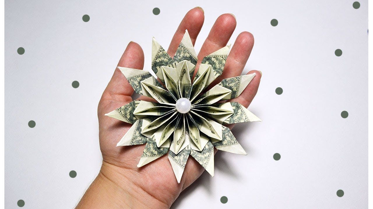 Money flower origami dollar tutorial diy