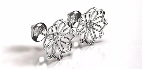 laj-shop   Bijoux Création, boucles d'oreilles, fleur, argent, femme, earring, flower, silver, woman, topaze blanche, vente en ligne.