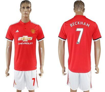 2017-2018 Manchester United #7 Beckham Home League Soccer Club Jersey