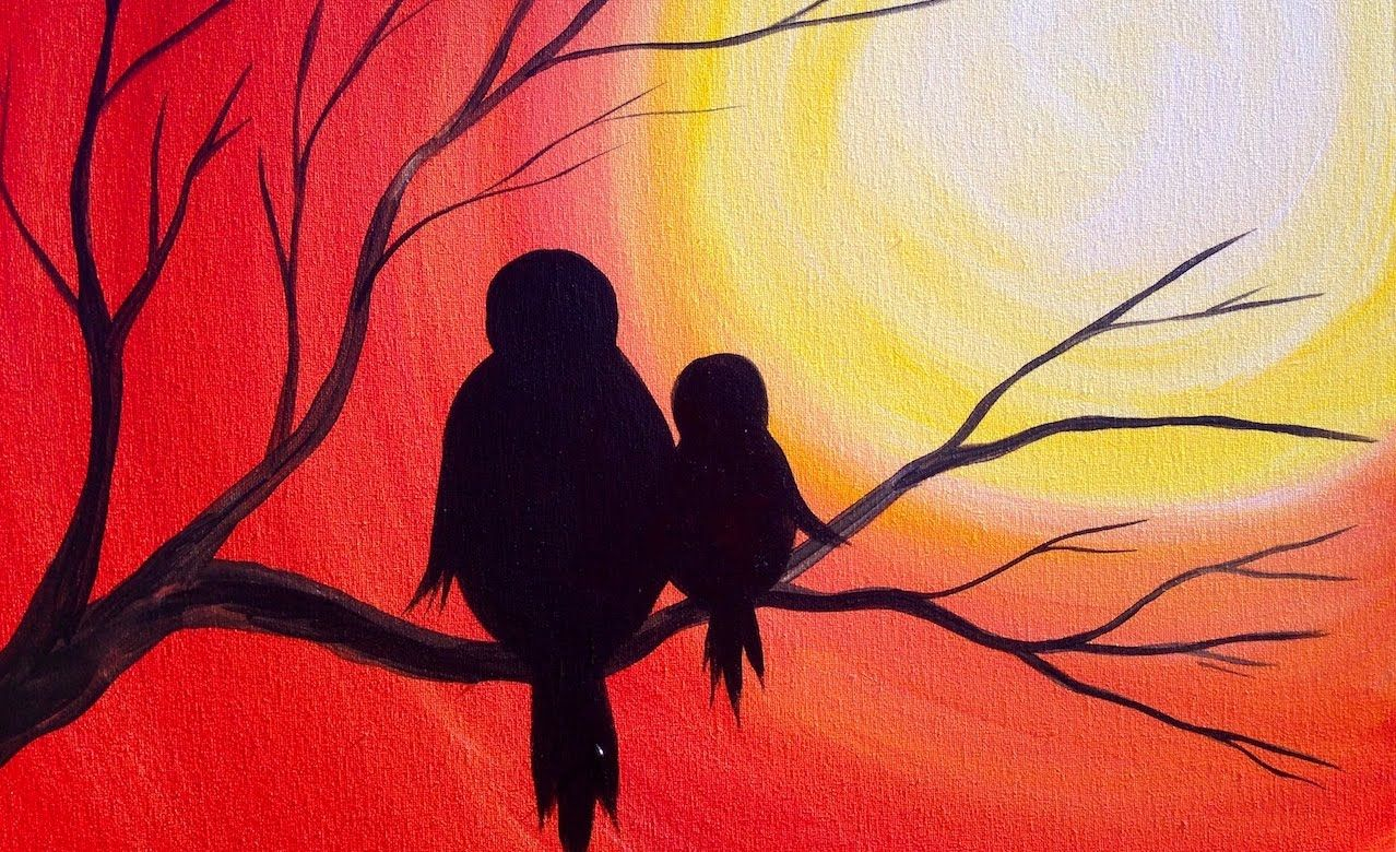 Simple Acrylic Painting For Beginners Of A Mama Bird With Her Baby On Branch Looking At Sunset Fun Silhouette Art Lesson Learn To