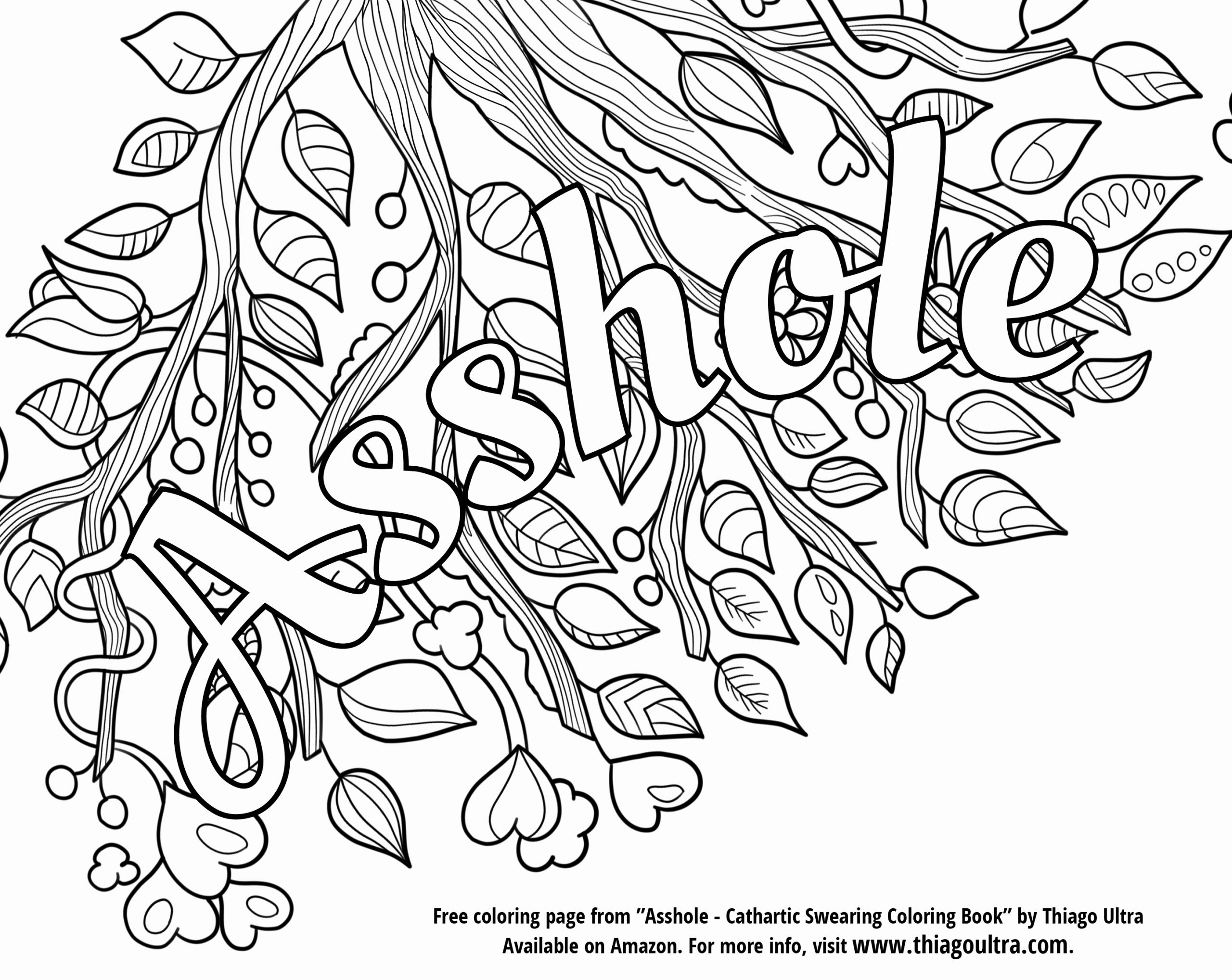 The Swear Words Coloring Book Awesome Free Printable Coloring Page Archives  Thiago Ultra … in 2020 | Curse word coloring book, Swear word coloring  book, Words coloring book