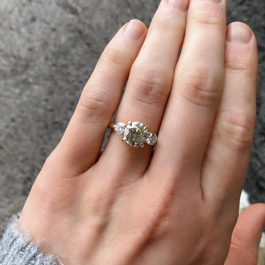 Classic 2 06ct Champagne And White Diamond Three Stone Ring In 14k