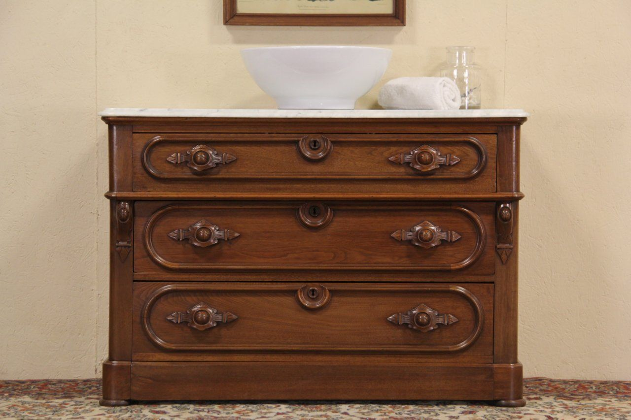 Details About Victorian Eastlake Antique Walnut Marble Top